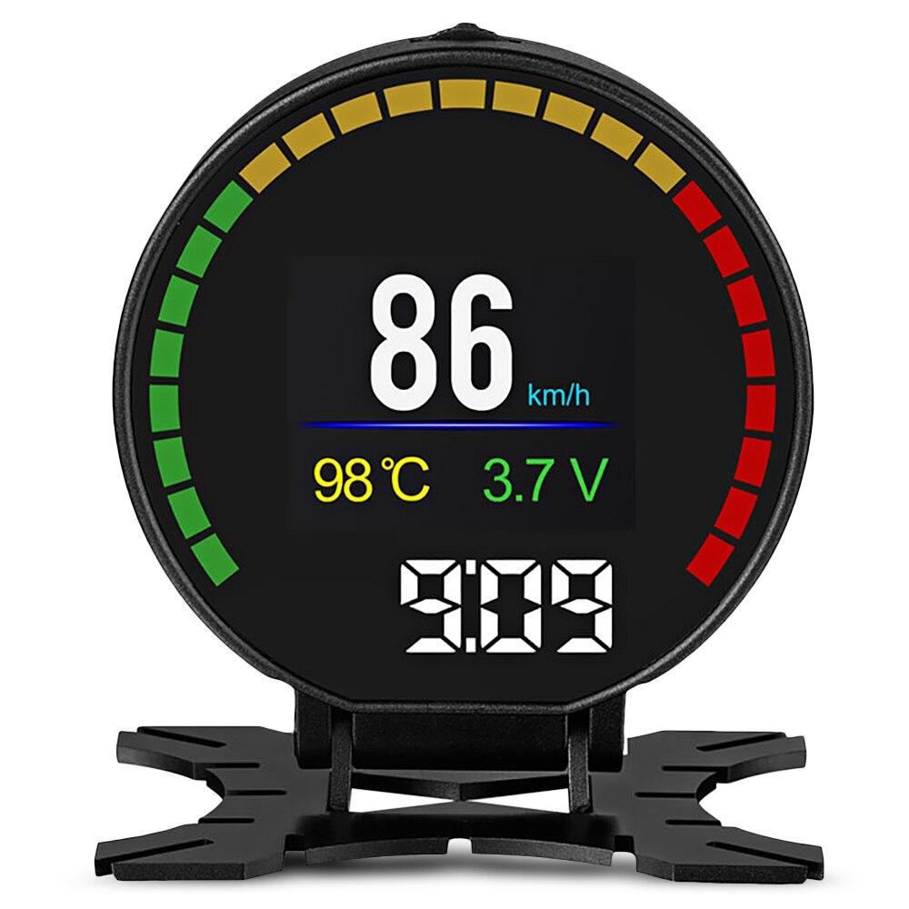 Nouveau P15 Head Up Display 2.84 pouce HUD Numérique Intelligent De Voiture OBD Vitesse Voiture Moniteur Haute Température Alarme Portable HUD voiture D'affichage
