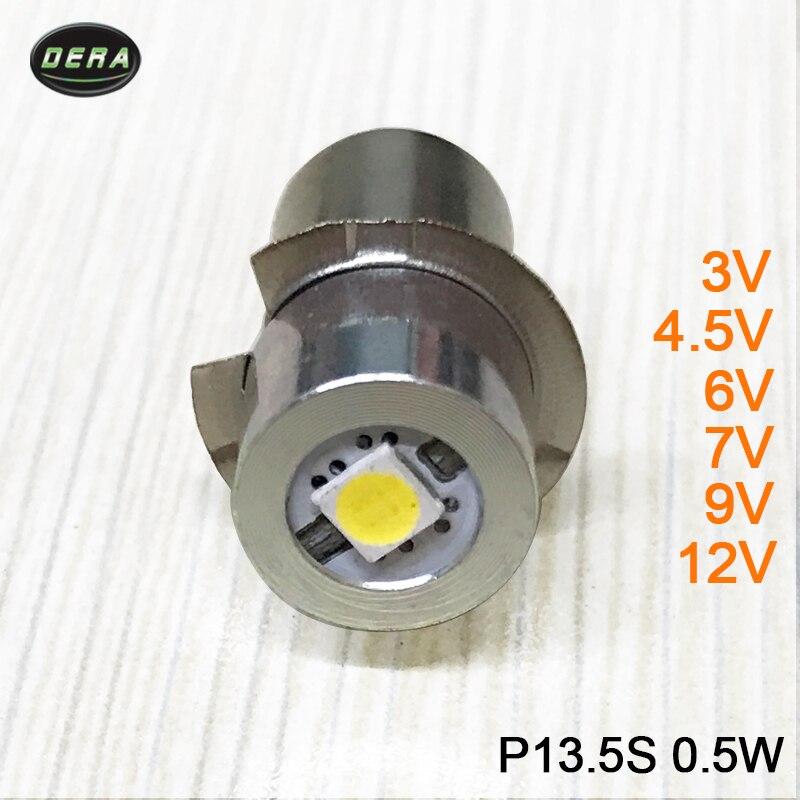 E10 P13.5S 0.5 w LED עבור פוקוס פנס החלפת הנורה לפידי עבודת אור מנורת DC3V 4.5 v 6 v 7.5 v 9 v 12 v קר וחם לבן