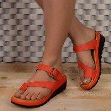 Women Comfy Platform Sandals Shoes Summer Travel Shoes Fashion Beach Sandals Open Toe Roman Slippers Sandal Shoe 25-34(China)