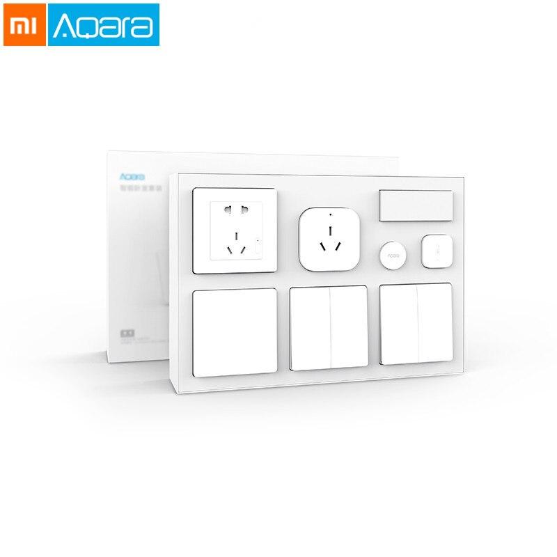 Xiaomi Aqara Kit maison intelligente APP contrôle conditionneur Mate + capteur de température et d'humidité + capteur de corps + prise murale + interrupteur