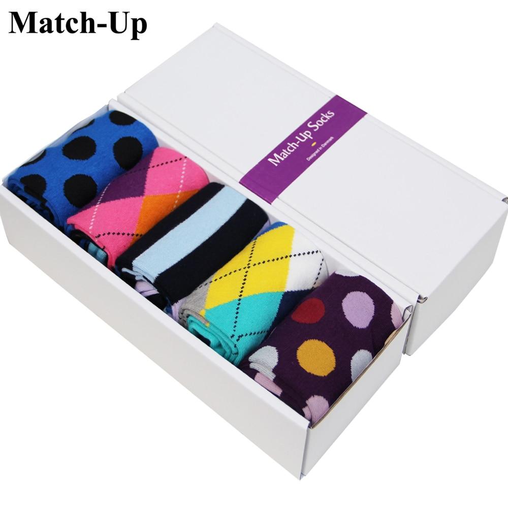 Superior Materials 5 Pairs /box 7.5-12 Mens Gift Box Combed Cotton Socks Brand Men Colorful Mens Socks Christmas Giftus Size