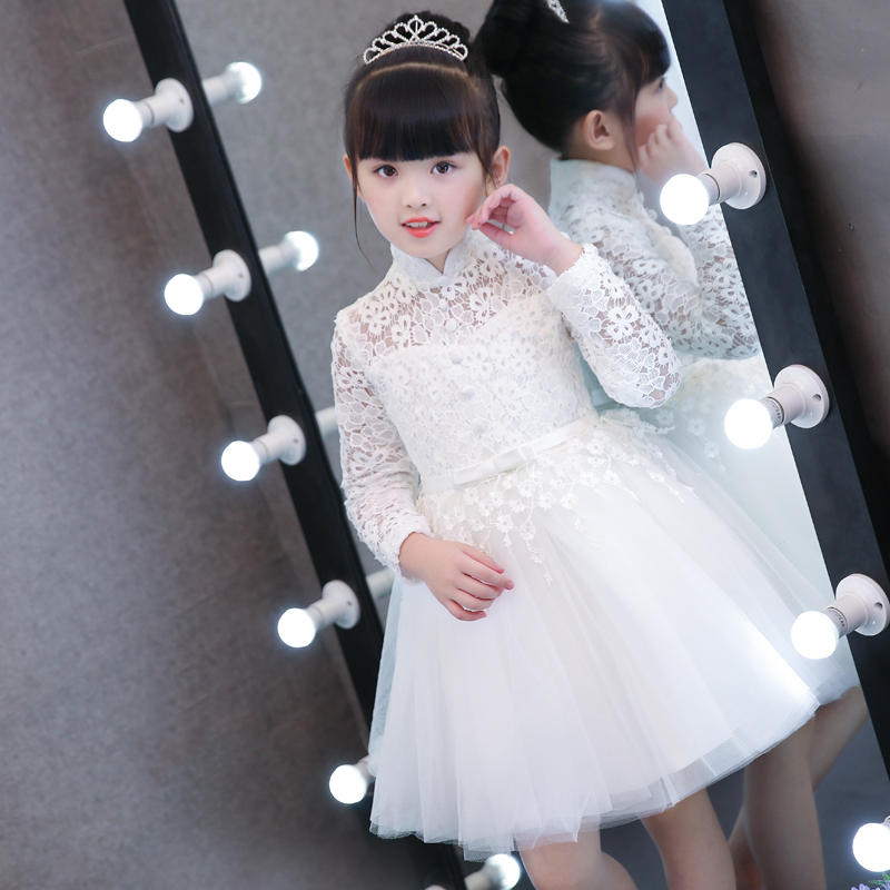 2017 New Children Girls Birthday Wedding Party Princess Lace Dresses Kids White Red Tutu Mesh Costume Children Ball Gown Clothes odeon light 2910 3w odl16 139 хром прозрачное стекло декор хрусталь бра e14 3 40w alvada