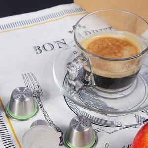 RECAPS 6 Pcs Edelstahl Nachfüllbar Reusable Kaffee Kapsel Pod Kompatibel mit Nespresso Maschinen Maker(6 Schoten + 240 deckel)