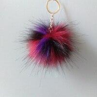 1 Dozen New Fake Fur Brand 8 Cm Pompon Key Chain Bag Pendant Colorful Long Hair