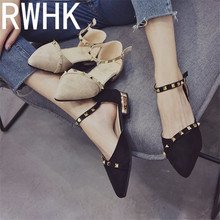 RWHK 2019 summer new retro thick with sandals womens wild willow Korean version of the belt buckle hollow shoes B428