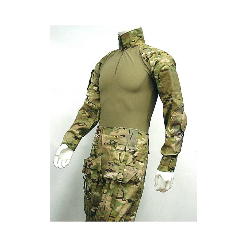 Military Combat Shirt & Pants With Elbow And Knee Pads Tactical Frog Suit Multi Camo Wholesale