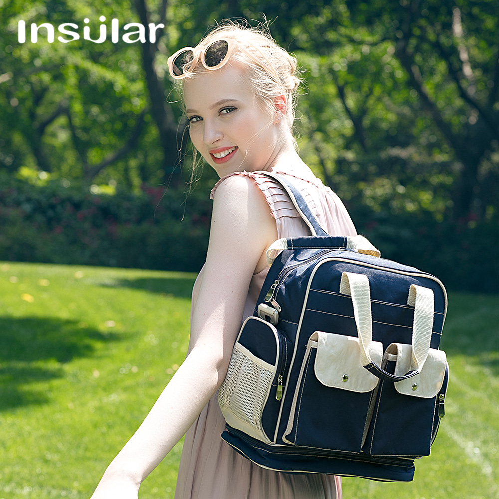 New Insular Mother Bag Baby Nappy Changing Bags Large Capacity Maternity Mummy Diaper Backpack Stroller Bag free shipping new fashion rose embossing large capacity baby diaper bag nappy changing bags waterproof mummy bag