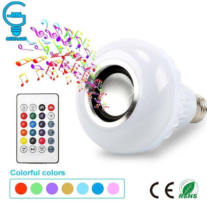 Inteligente E27 RGB 12W Reprodução de Música Bluetooth Speaker Lâmpada LED Pode Ser Escurecido Conduziu a Lâmpada Sem Fio com 24 Chaves Remoto controle
