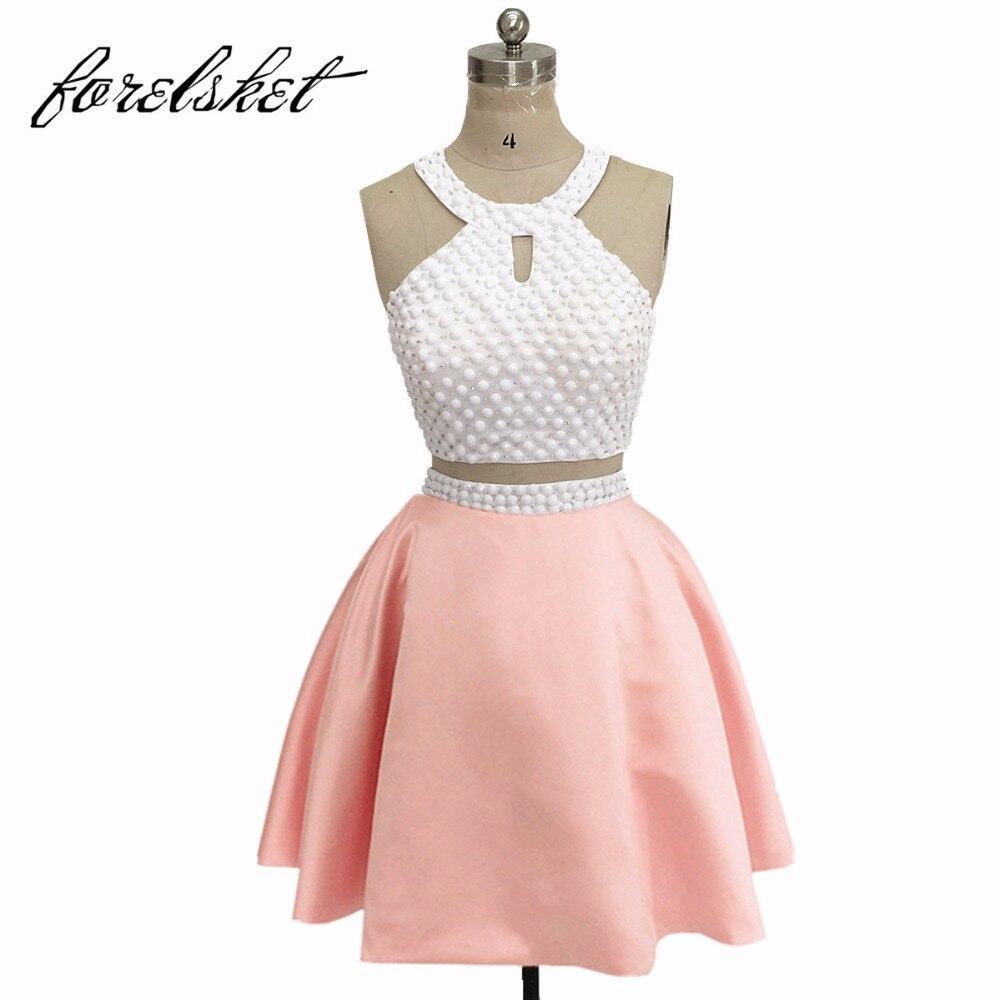 f38b11ca06 Dos piezas baile De graduación Vestidos cortos vestidos De fiesta para  niñas con piedras Vestido De