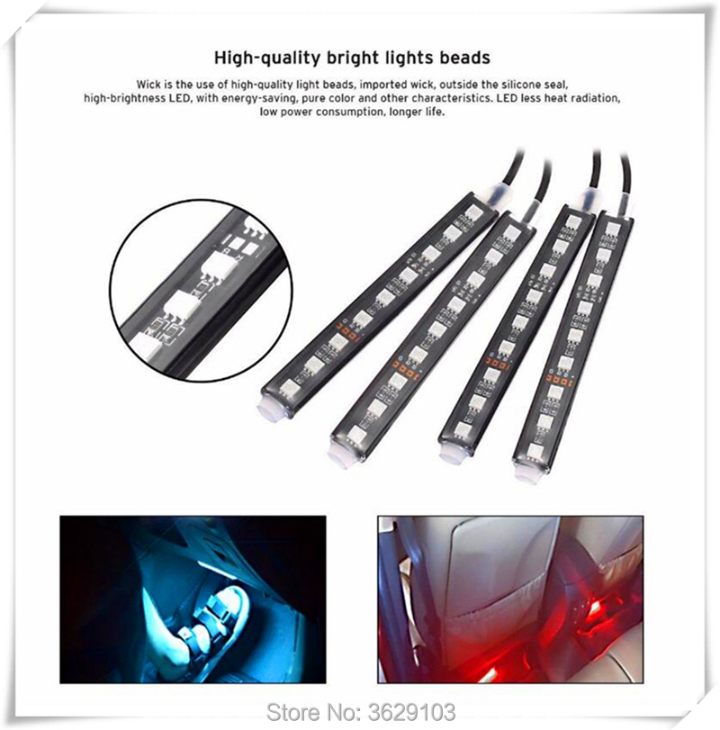 One trailer four car LED remote control colorful atmosphere lights for Nissan qashqai tiida almera juke primera x-trail note