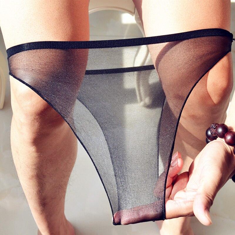Sexy Ice Silk Transparent Bikini Brief Panties Mesh Gauze Sexy Slip Men Brave Person
