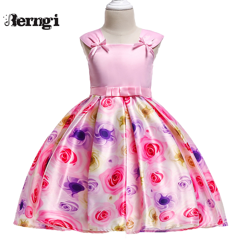 Berngi Kids Girl Sleeveless Dress Pink Color Bow Printed Rose Flower Princess Dress For Wedding Birthday Children's Clothing