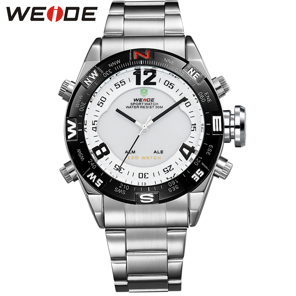 WEIDE Original Brand Silver Stainless Steel Watch Men Sports LED Analog Digital Army Military Quartz Movement Wristwatches weide irregular analog led digital watch men quartz dual movement stainless steel bracelet mens waterproof military watches