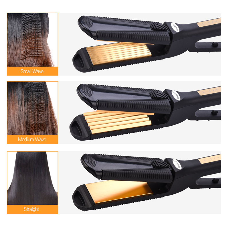 CkeyiN 3 in 1 Styling Tool Hair Crimper Straightener Hair Corrugated Crimper iron Curler Perm Corrugation Hair Plate