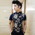Mens Gold Print Shirt 2016 Summer Mens Floral Print Shirt Party Bar Vintage Slim Fit Short Sleeve Fashion Men Shirt Navy White