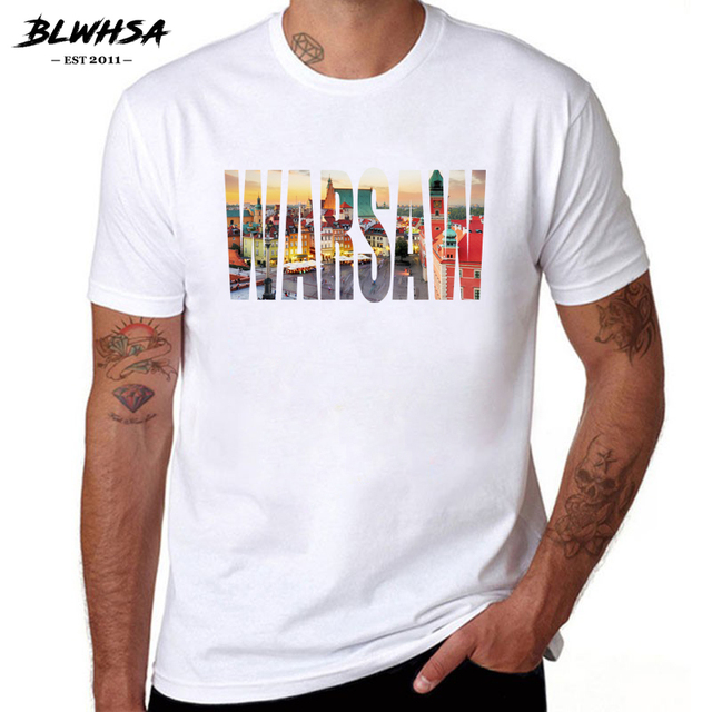 BLWHSA Warsaw City Printing T shirt Men Fashion Short Sleeve 100% Cotton  Funny T-shirts Poland City Warsaw Men Tops Tees d0cfc6955