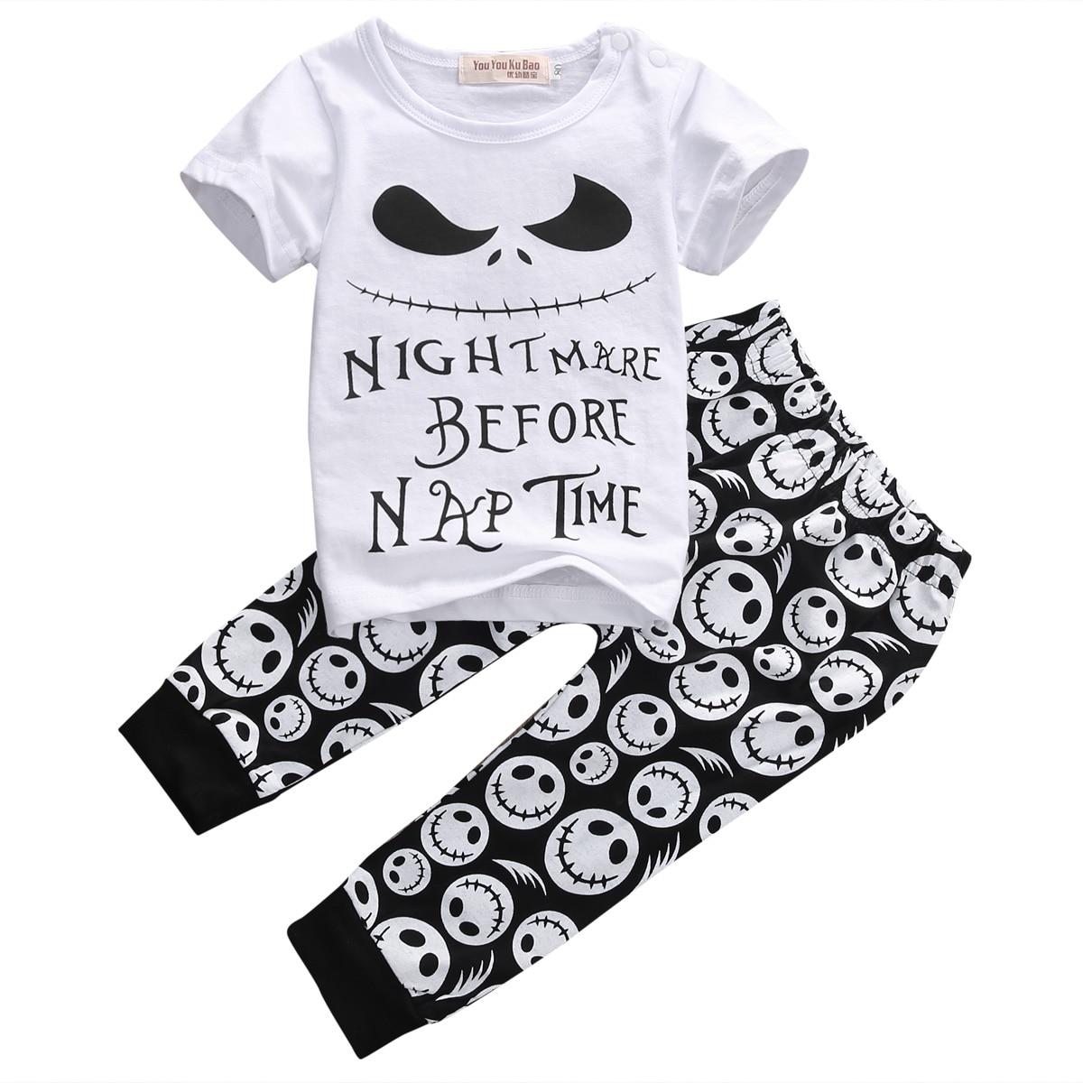 2PCS/New Cartoon Cotton Halloween Letter Clothing Set Baby Boy Children Kids T-shirt+Pants Toddler boy summer Outfits Clothes цена 2016
