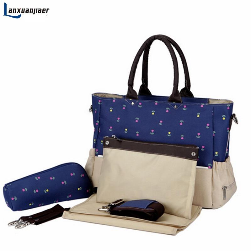Materská taška Baby plenka Plenkové tašky Maternity Mummy bags móda Large capacity tote kabelka Messenger Bag 5ks set doprava zdarma