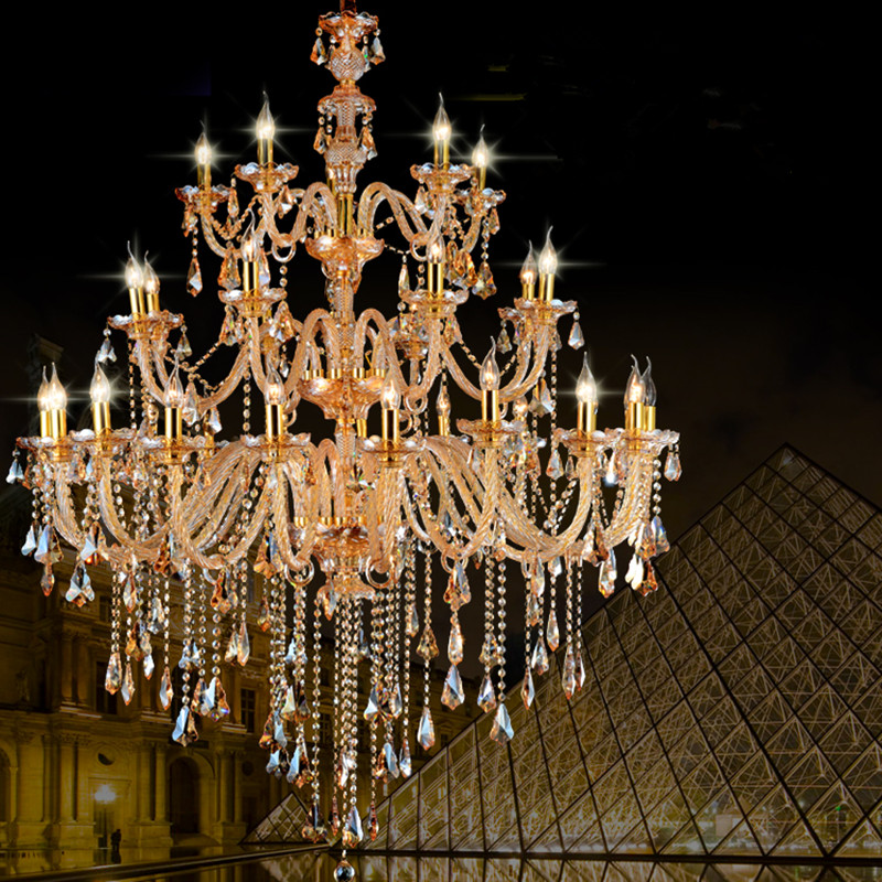 Duplex Huge Gold Chandelier Champagne Crystal Lamp Royal Villa Church Glass 28 36 Pcs Led E14 Project Lampe In Chandeliers From Lights