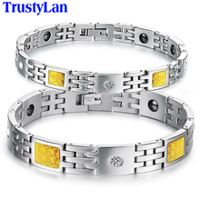 TrustyLan Link Chain Bracelet Jewelry Health Care Magnetic Stainless Steel Bracelets & Bangles For Men Women Wristband