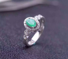 Natural green emerald gem Ring Natural gemstone ring 925 sterling silver trendy Elegant lovely round women party gift Jewelry