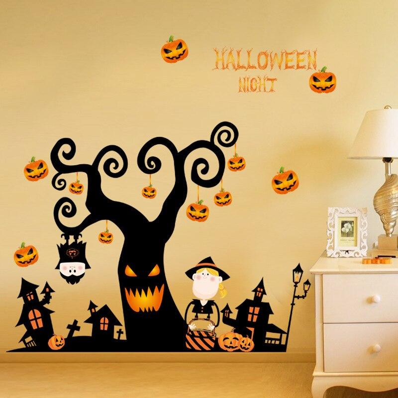 US $7.14 30% di SCONTO|Halloween adesivi murali camera da letto soggiorno  adesivi vetrofanie comodino creativo decorazioni murali carta da parati-in  ...