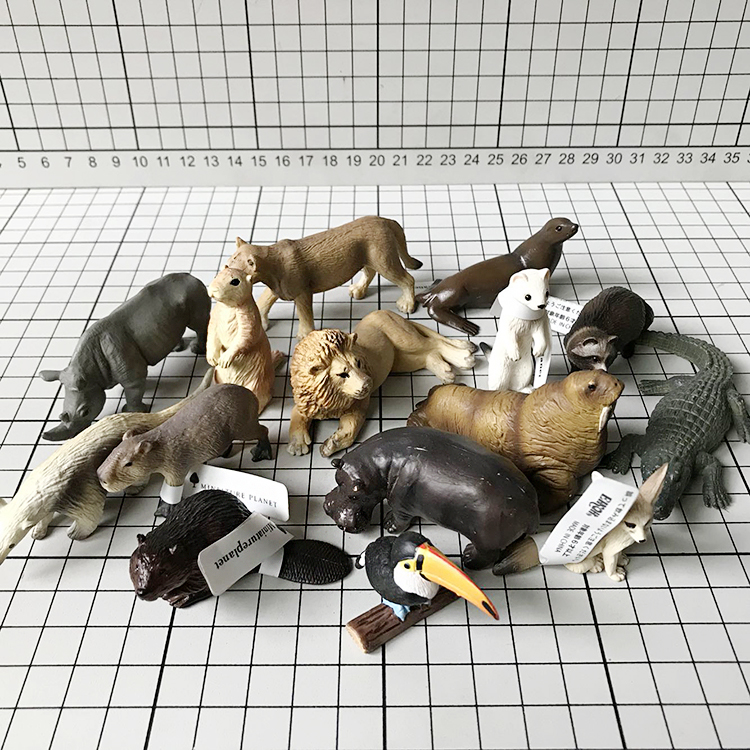 Mini figurine en pvc modèle jouet Simulation animal sauvage jouet ornements modèle Lion de mer rhinocéros 15 pièces/ensemble