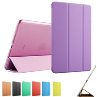 PU Leather Transparent Back Case For IPadmini 123 Smart Case Solid Color Ultra Slim Cover For