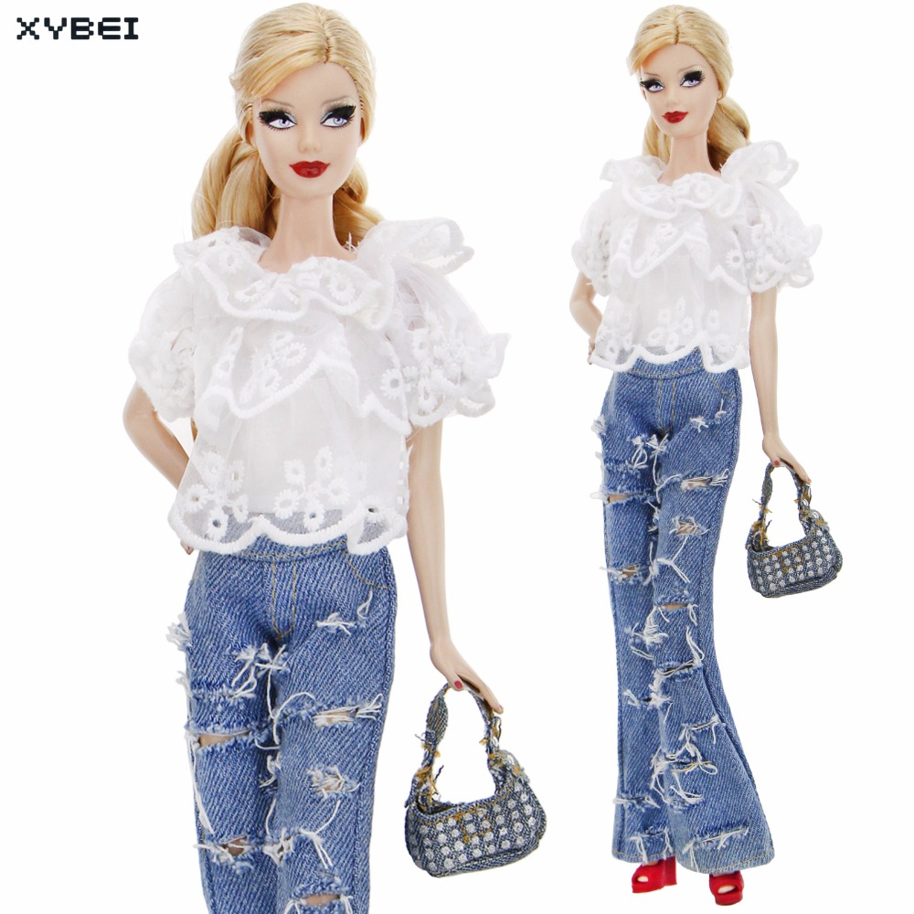 Fashion Outfit Daily Casual Wear White Lace Shirt Hole Jeans Pants Trousers Handbag Shoes Clothes For Barbie Doll Accessories 30 new styles festival gifts top trousers lifestyle suit casual clothes trousers for barbie doll 1 6 bbi00636