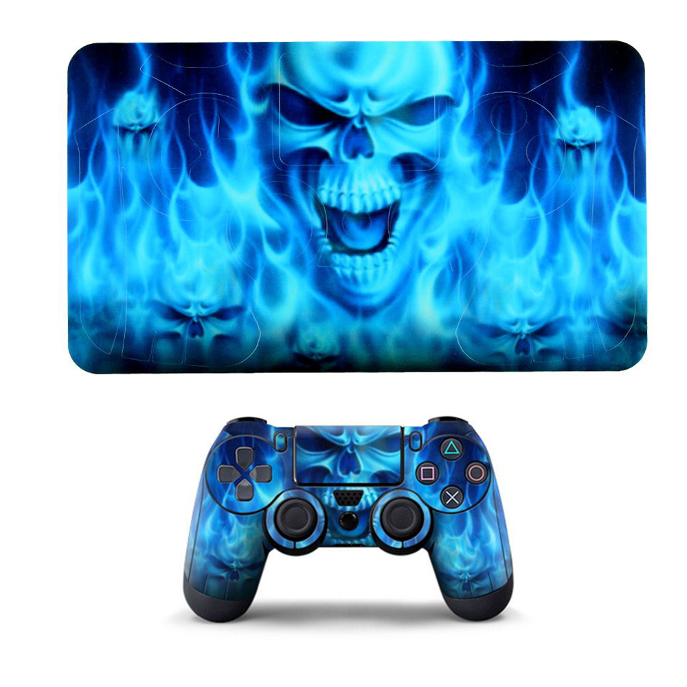 Cewaal PVC Sticker Blue Skull Pattern Case Protector Decal for Sony PS4  Playstation 4 Controller