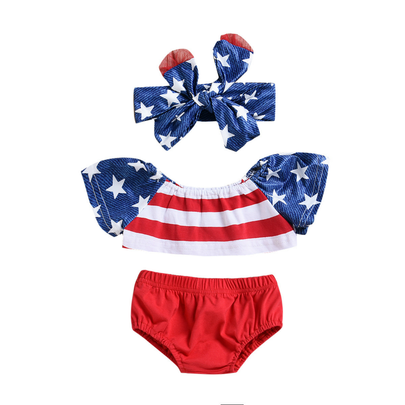 Independence Day Baby Girl Newborn Clothes Five Stars Strips Tops+Shorts With American Flag Striped Hair Band Girls Set