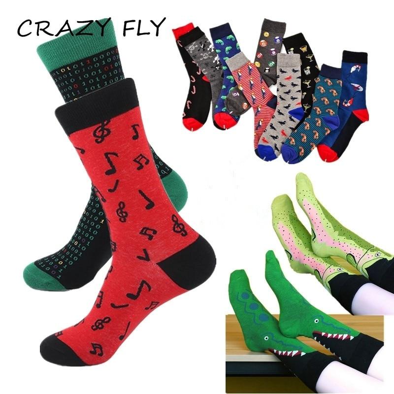 Fast Deliver Vvqi Harajuku Happy Socks Men Hip Hop Skate Funny Gifts For Men Cotton Fashions Crew Novelty Dress Striped Crazy Black Green Art Men's Socks