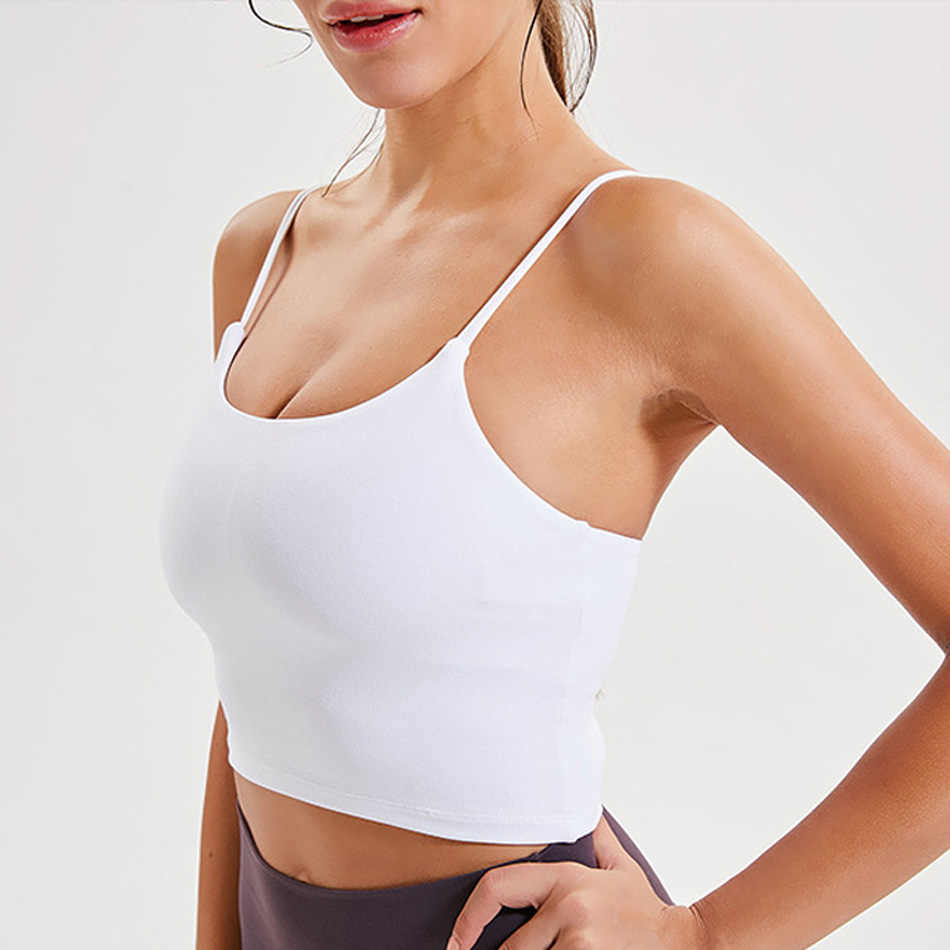Thin strap workout tops for women fitness yoga shirts strappy gym crop top padded pink sport shirt 7 colors spandex women shirts