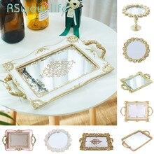 Bandejas de resina tallada Vintage, bandeja Rectangular para comida, pasteles, bandeja de almacenamiento de joyas, bandejas decorativas para servir