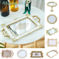 Vintage Carved Resin Mirror Trays Rectangular Cake Food Tray Cosmetics Jewelry Storage Tray Serving Platter Decorative Trays
