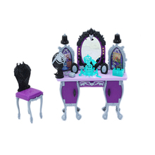 Ancient European Fairy Tale Style Furniture Dressing Table for Barbie and Princess Elsa Doll House Accessories