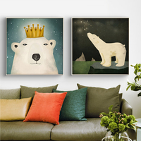 HAOCHU Nordic Decoration Crown Polar Bear Fox Kawaii C Animal Head Poster Canvas Painting Nursery School