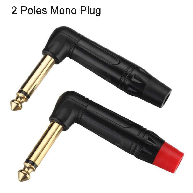 Image 2 - 10pcs Mono Jack 6.35mm Right Angle Male Plug Gold Plated 2 Pole 1/4 Inch 6.3mm Mono Plug Microphone Connector 5Pairs Red+BlackConnectors   -