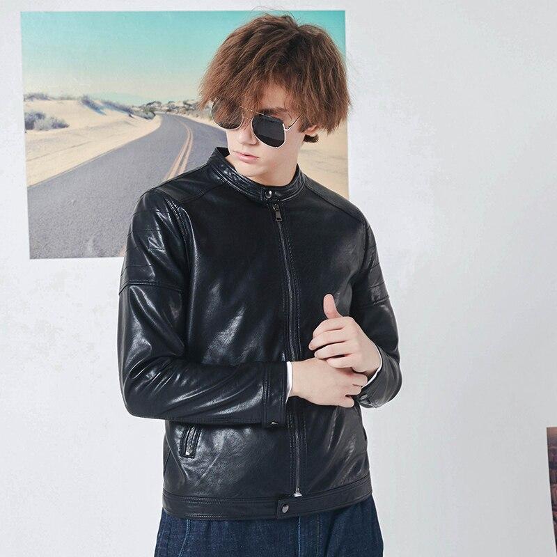Pioneer camp nouvelle veste en cuir hommes marque vêtements automne hiver col montant moto en cuir manteau mâle qualité AJK801448 - 3