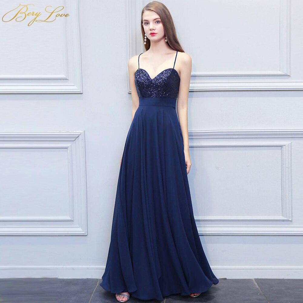 BeryLove Long Navy Blue Evening Dress 2019 Sequin Chiffon Spaghetti Straps A line Prom Dress Formal