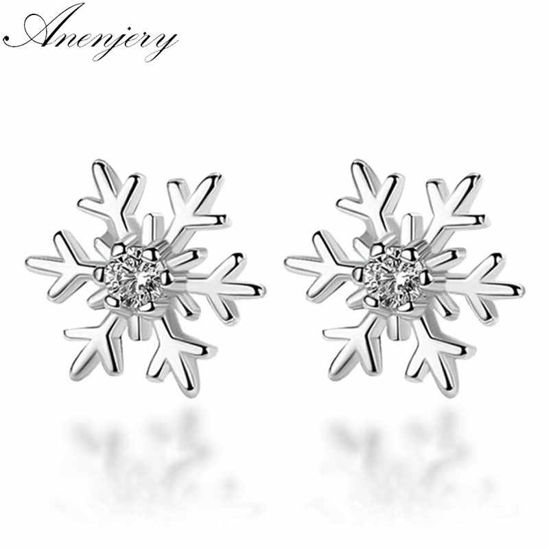Anenjery 925 Sterling Silver Hollow Snowflake Zircon Flower Stud Earrings For Women Christmas Gift brincos oorbellen S-E267