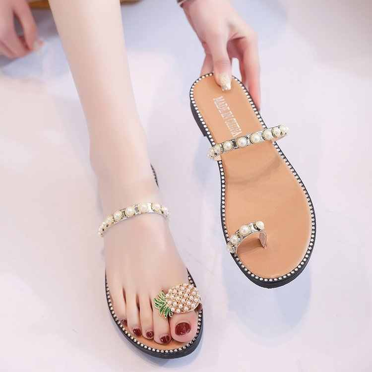 Women's Sandals 2019 Summer New set Of  Pineapple Pearl Decoration Low Heel flat Bottom Lightweight Ladies Casual Sandals