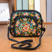 Nice Embroidery Multi-layer Handbags Women!Hot National Floral Embroidered Lady Mini Shoulder&Crossbody bags Versatile Cute bags