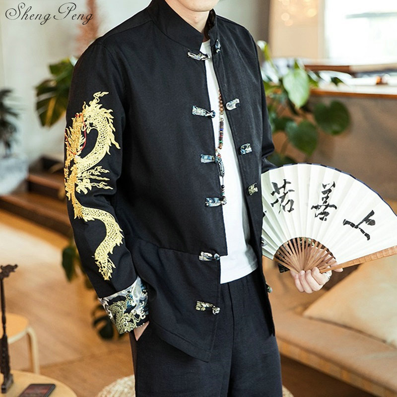 Traditional chinese clothing for men dragon bomber jacket bruce uniform oriental suit autumn clothes men 2019