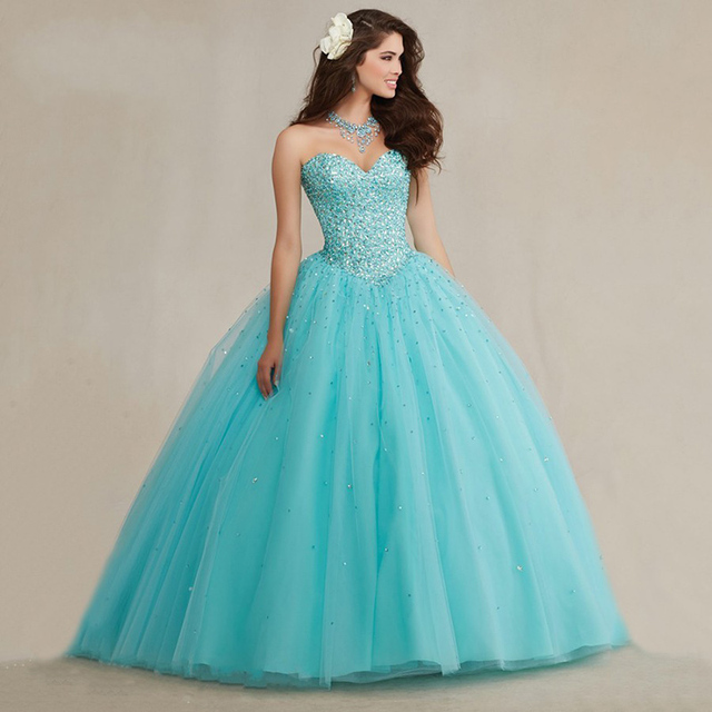 Sparkly Ball Gown Full Crystals Corset Puffy Tulle Masquerade 2017 Turquoise  Quicneanera Dress for Girls 15 years 6bac52fe0701
