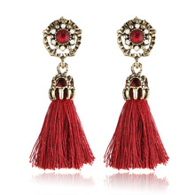 HOCOLE Bohemian Tassel Earrings Hanging Drops for Women Statement Black Vintage Dangle Earring Jewelry Christmas gift