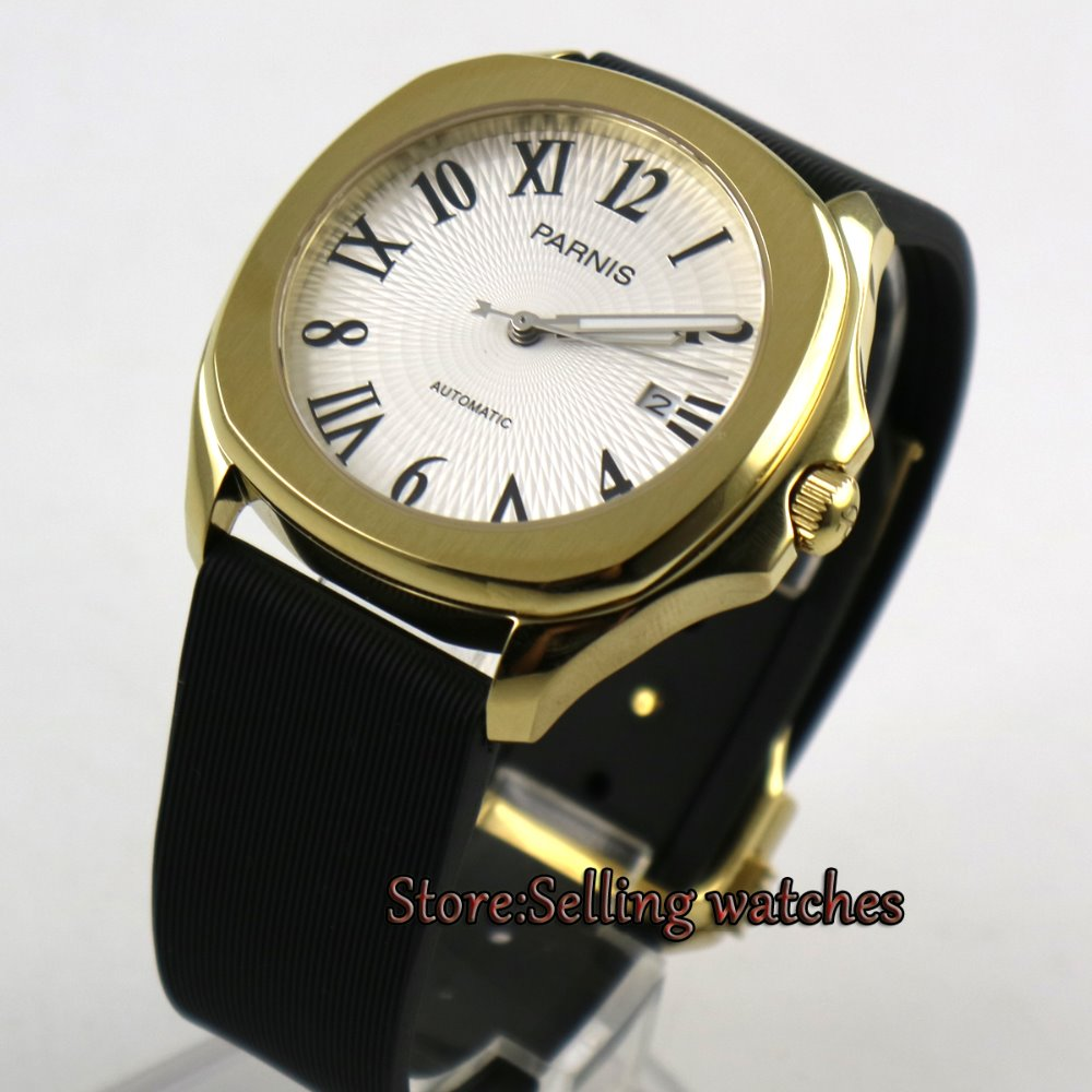 New 40mm Parnis Golden yellow steel case Miyota 21 JEMELS automatic movement white dial Roman numeral mens watch 40mm parnis white dial vintage automatic movement mens watch p25