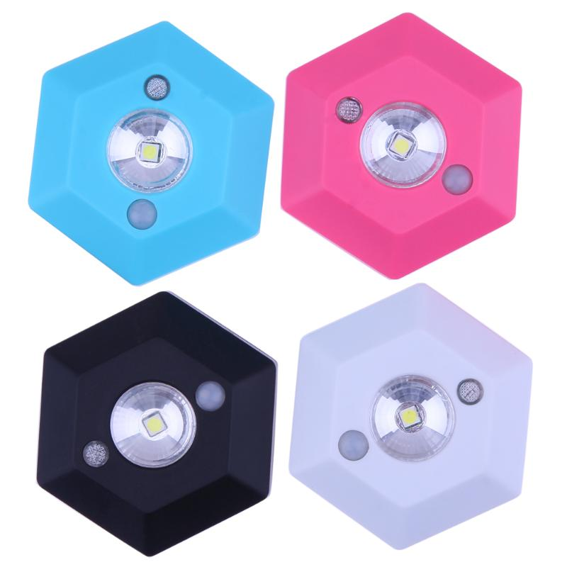 Brand New Hexagonal Motion Sensor Body Induction Battery Powered LED Night Light Lamp Wa ...