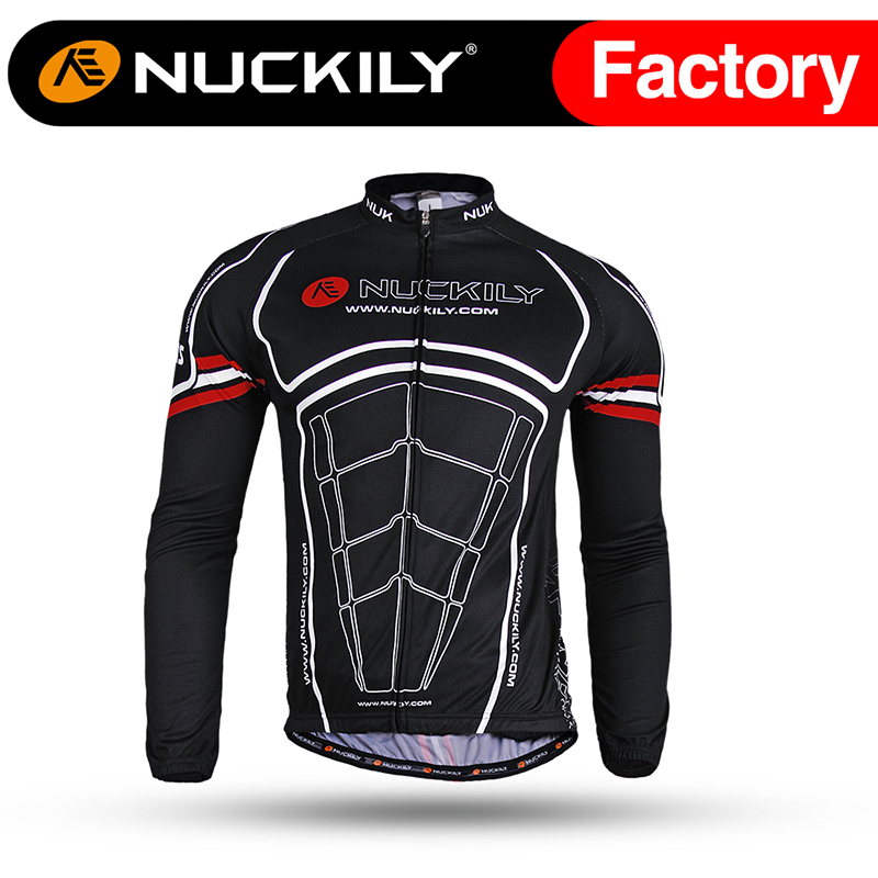 ФОТО Nuckily Winter Men's cool design black long fleece bicycle jersey ME001