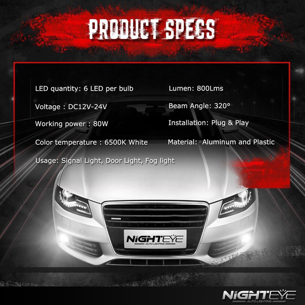 Nighteye H3 160W LED Fog Tail Light Bulbs Car Driving Lamp DRL 6000K Xenon White